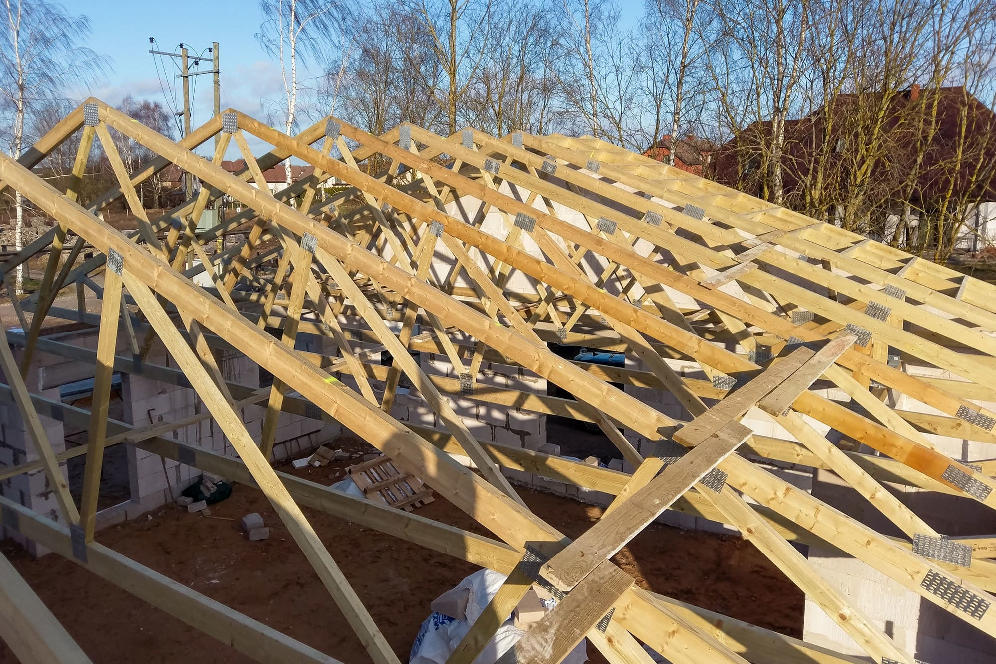 Wooden truss solution for a semi detached house