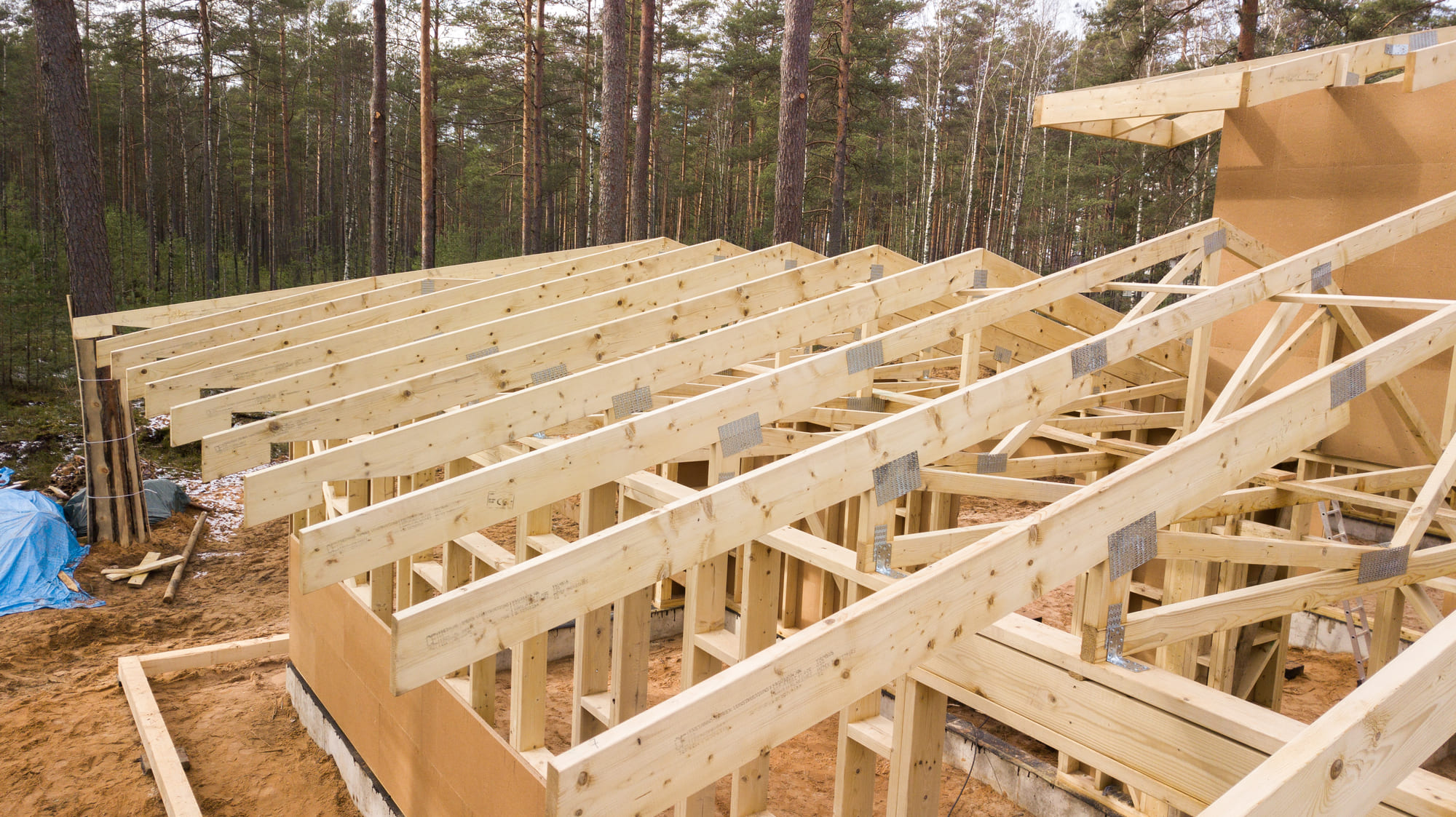 assembly of wooden trusses and roof structures