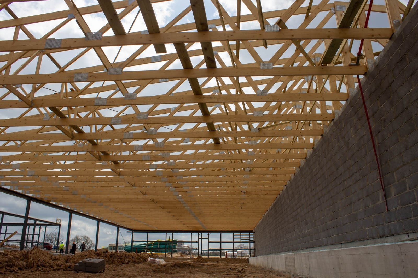 Wooden trusses for a livestock building for rabbits