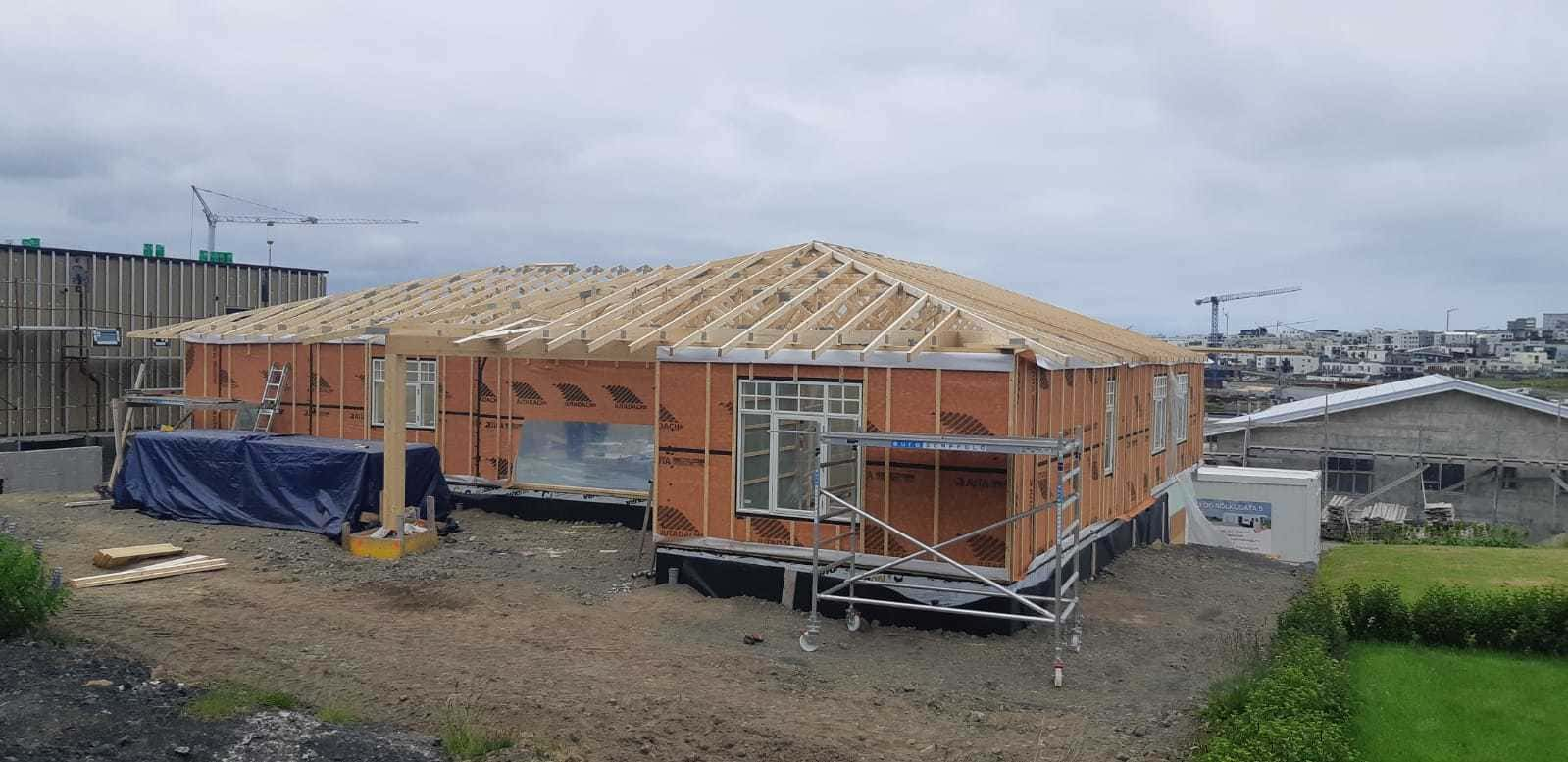 Production of Tivo wooden frame and modular houses using Freimans roof constructions