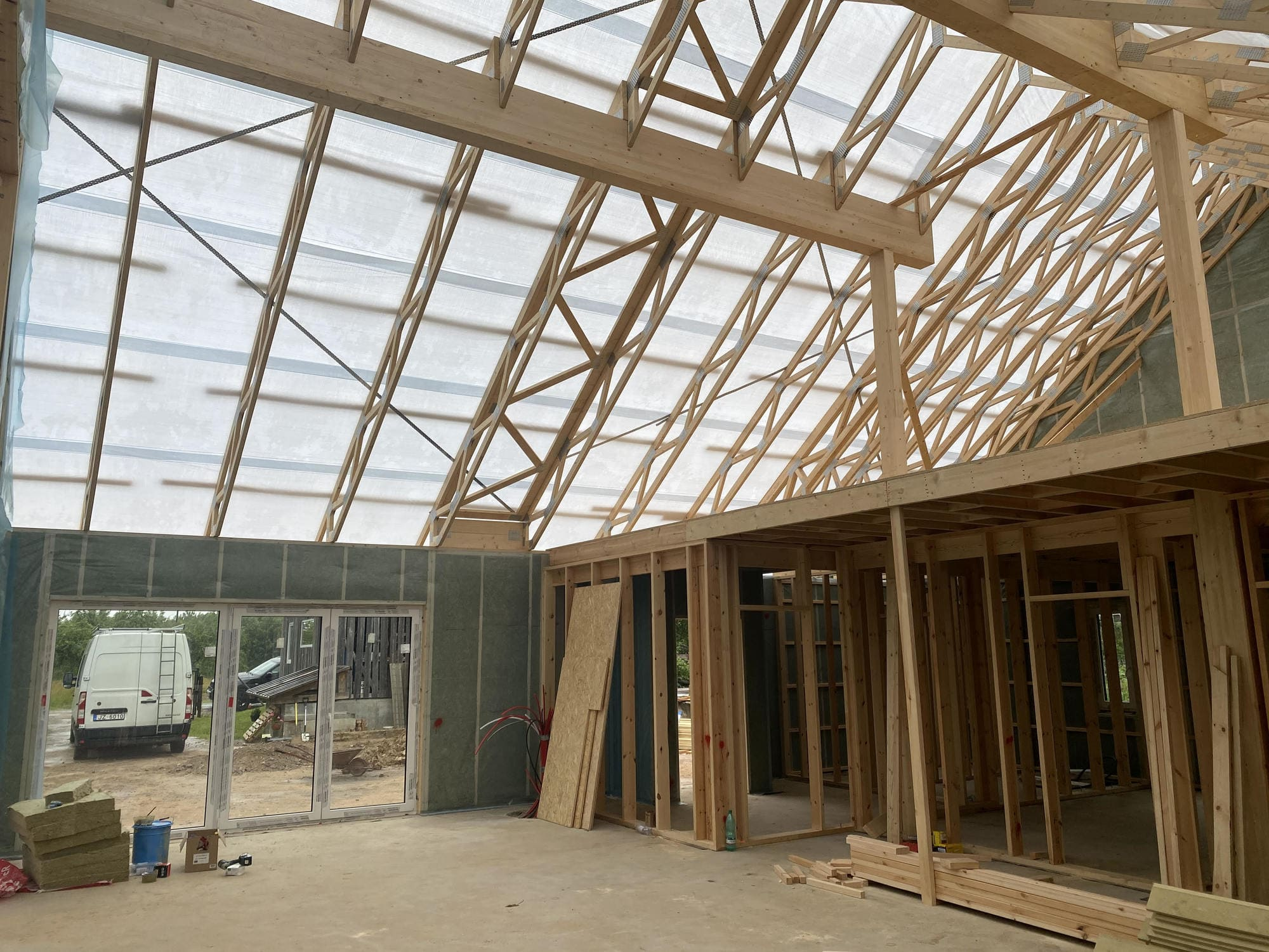Wooden frame houses have different roof configurations